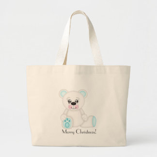 Blue Christmas Polar Bear Large Tote Bag