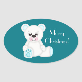 Blue Christmas Polar Bear Oval Sticker