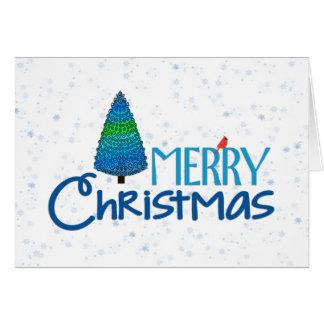 Blue Christmas Red Cardinal Holiday Greeting Greeting Card