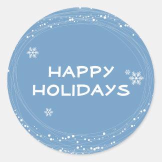 blue Christmas Round Sticker