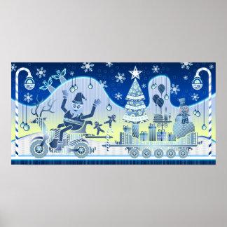 Blue Christmas Santa Claus Snowman Poster Tree