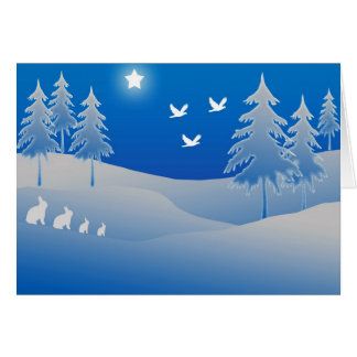 Blue christmas scene greeting card
