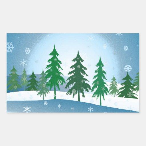 Blue christmas scene illustration sticker