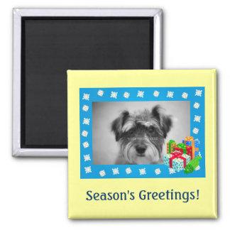 Blue Christmas Snow Photo Frame Square Magnet