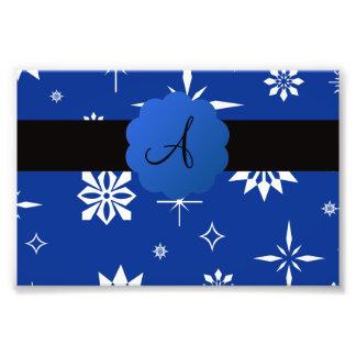 Blue Christmas snowflakes monogram Photo Art