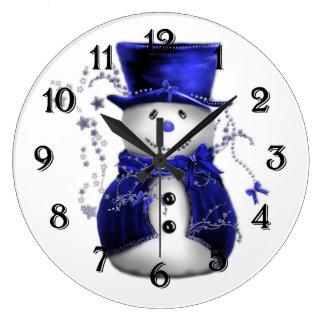 Blue Christmas Snowman Large Clock