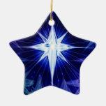 Blue Christmas star Ornament Ceramic Star Ornament
