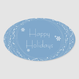 blue Christmas Oval Stickers