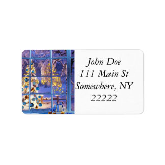 Blue Christmas Through the Window Address Label