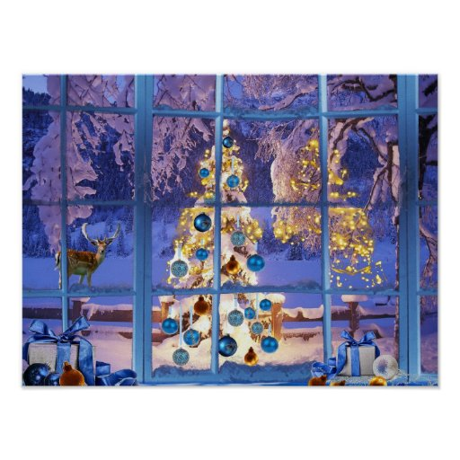 Blue Christmas Through the Window Poster
