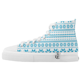 Blue Christmas Traditional Art Pattern High Tops