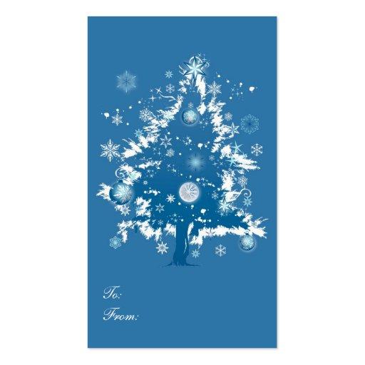 Blue Christmas Tree Christmas Gift Tag Business Card Template
