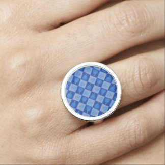 Blue Christmas Tree Colorful Holiday Pattern Photo Ring