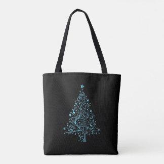 Blue Christmas Tree Elegant Holiday Season Black Tote Bag