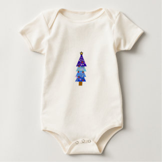 Blue Christmas Tree Fancy Baby Bodysuit