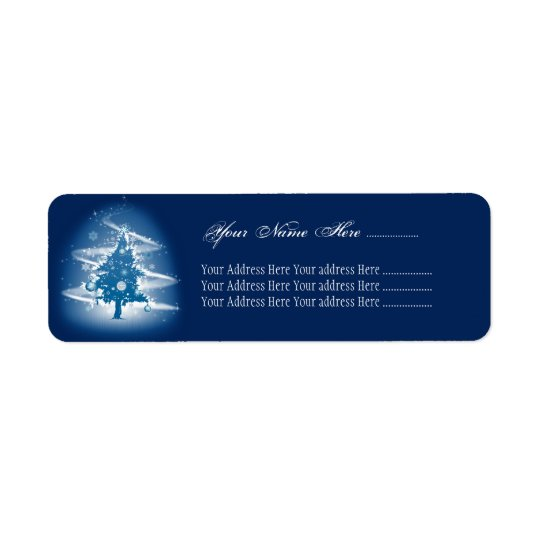Blue Christmas Tree Fancy Elegant Decorations Return Address Label