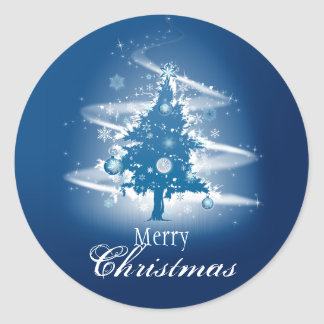 Blue Christmas Tree Fancy Elegant Decorations Round Sticker