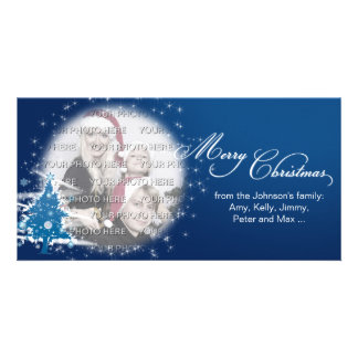Blue Christmas Tree Merry Christmas Personalized Photo Card