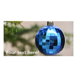 Blue christmas tree ornament picture card