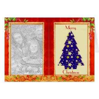 Blue Christmas Tree Photo Frame Card