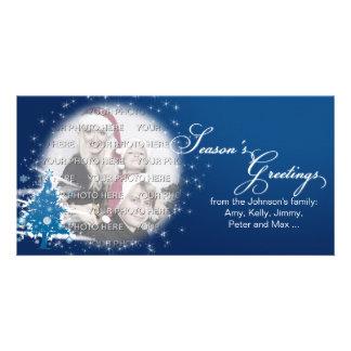 Blue Christmas Tree Season's Greetings Photo Card Template