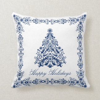 Blue Christmas Tree Your Background and Text Cushion