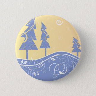 blue Christmas Trees 6 Cm Round Badge
