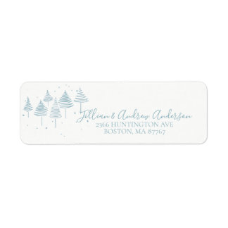 Blue Christmas Trees Address Label