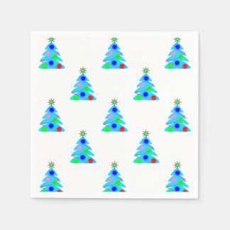 Blue Christmas Trees Holiday Party Disposable Serviette