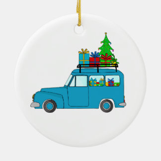 Blue Christmas truck with gifts Christmas Ornament