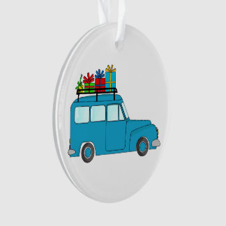 Blue Christmas truck with gifts Ornament