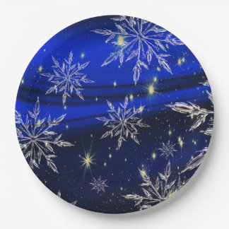 Blue christmas white snow holidays 9 inch paper plate