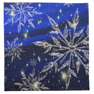 Blue Christmas white snow holidays Napkin