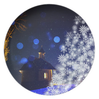 Blue christmas white tree plate