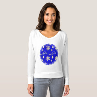 Blue Christmas with Cream Snowflakes T-Shirt