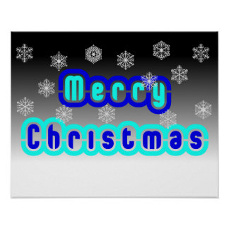 Blue Christmas With Snowflakes Posters