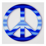 Blue Chrome Peace Sign Poster Print