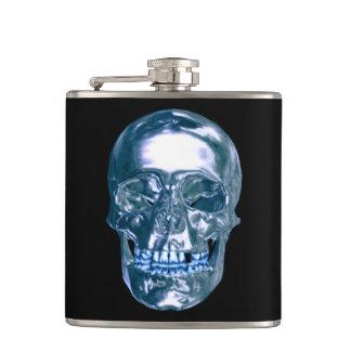 Blue Chrome Skull Flask