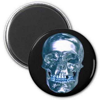 Blue Chrome Skull Magnet