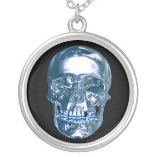 Blue Chrome Skull Necklace
