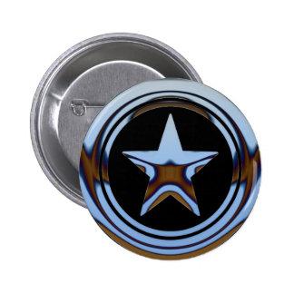 BLUE CHROME STAR 6 CM ROUND BADGE