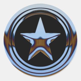 BLUE CHROME STAR ROUND STICKER