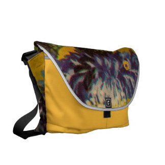 Blue Chrysanthemum Courier Bag