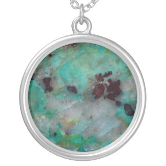Blue Chrysocolla Jasper Silver Plated Necklace