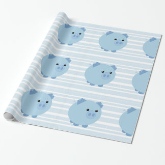 Blue Chubby Pig Gift Wrap