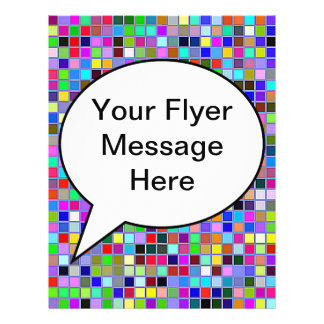 Blue Chunky Multicolored Square Tiles Pattern Personalized Flyer