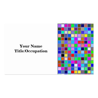 Blue Chunky Multicolored Square Tiles Pattern Pack Of Standard Business Cards
