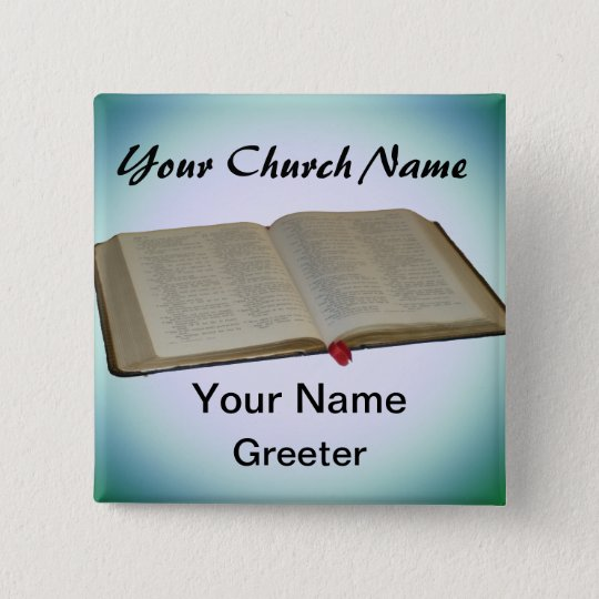 Blue Church Greeter Nametags with Bible 15 Cm Square Badge