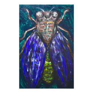 Blue Cicada (Surreal Realism insect painting) Personalized Stationery