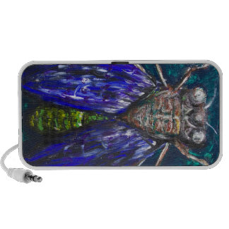 Blue Cicada (Surreal Realism insect painting) Travelling Speakers
